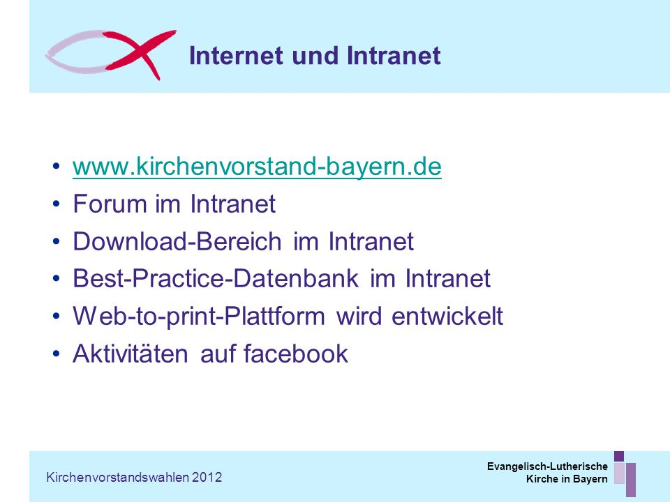 Download-Bereich im Intranet Best-Practice-Datenbank im Intranet