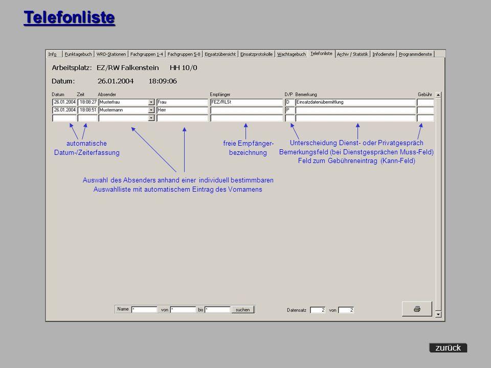 Telefonliste zurück automatische Datum-/Zeiterfassung freie Empfänger-