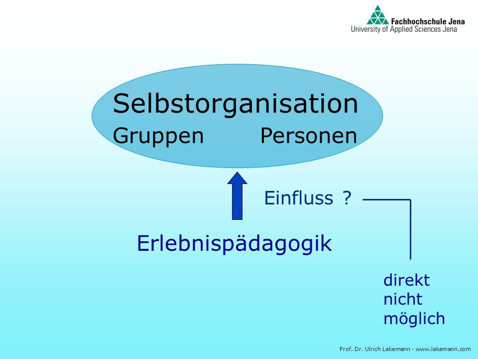 Selbstorganisation Gruppen Personen Erlebnispädagogik Einfluss