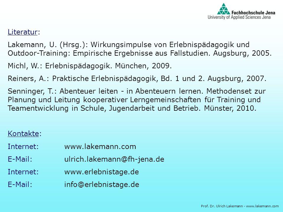 Literatur:Lakemann, U. (Hrsg.): Wirkungsimpulse von Erlebnispädagogik und Outdoor-Training: Empirische Ergebnisse aus Fallstudien. Augsburg, 2005.