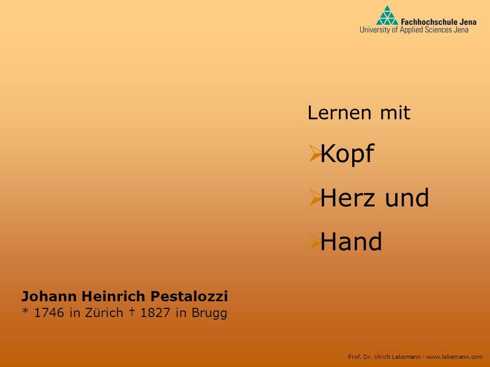 Kopf Herz und Hand Lernen mit Johann Heinrich Pestalozzi