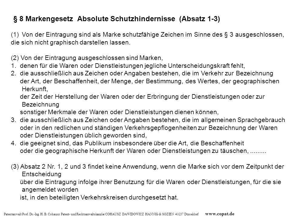 § 8 Markengesetz Absolute Schutzhindernisse (Absatz 1-3)