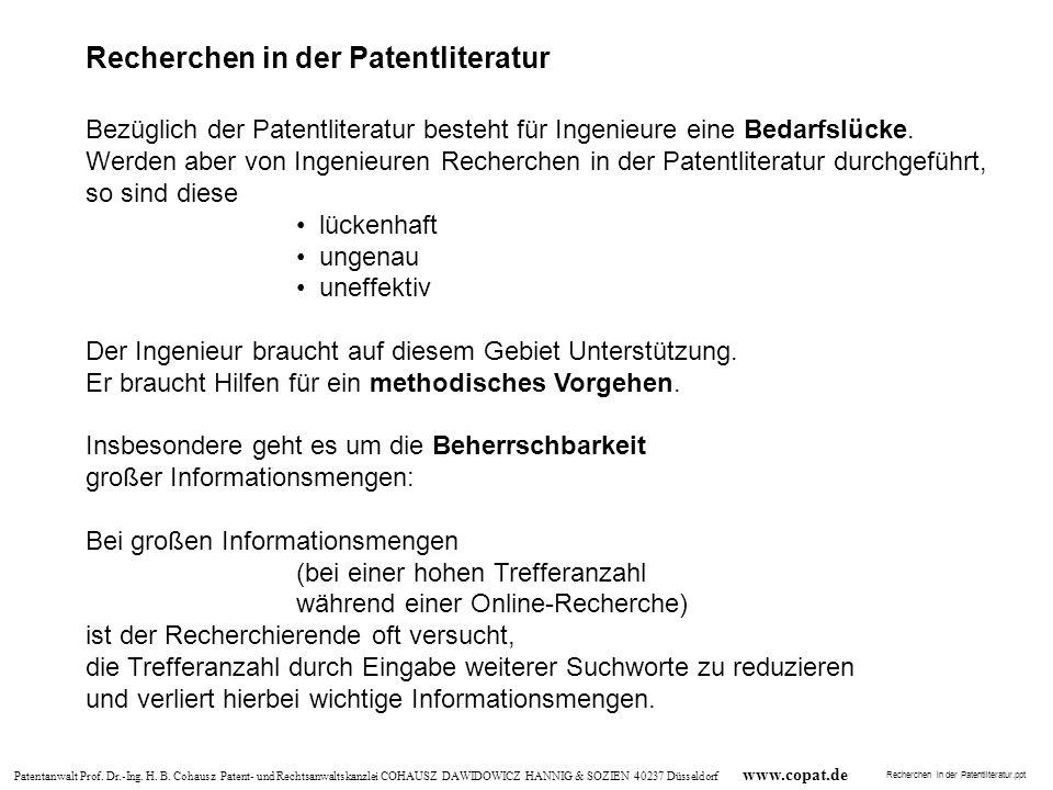 Recherchen in der Patentliteratur