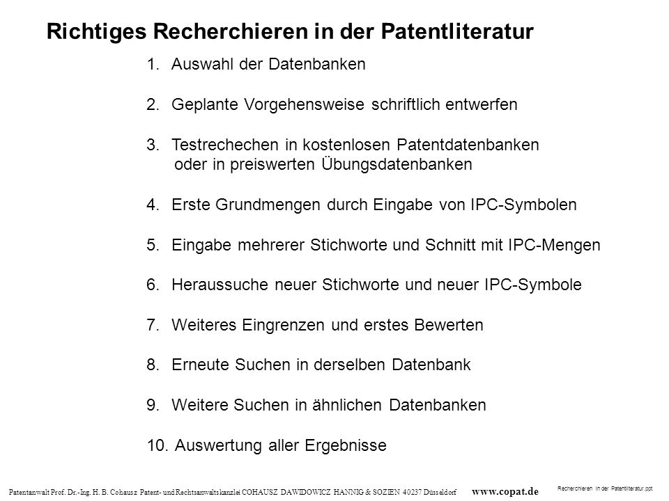 Richtiges Recherchieren in der Patentliteratur