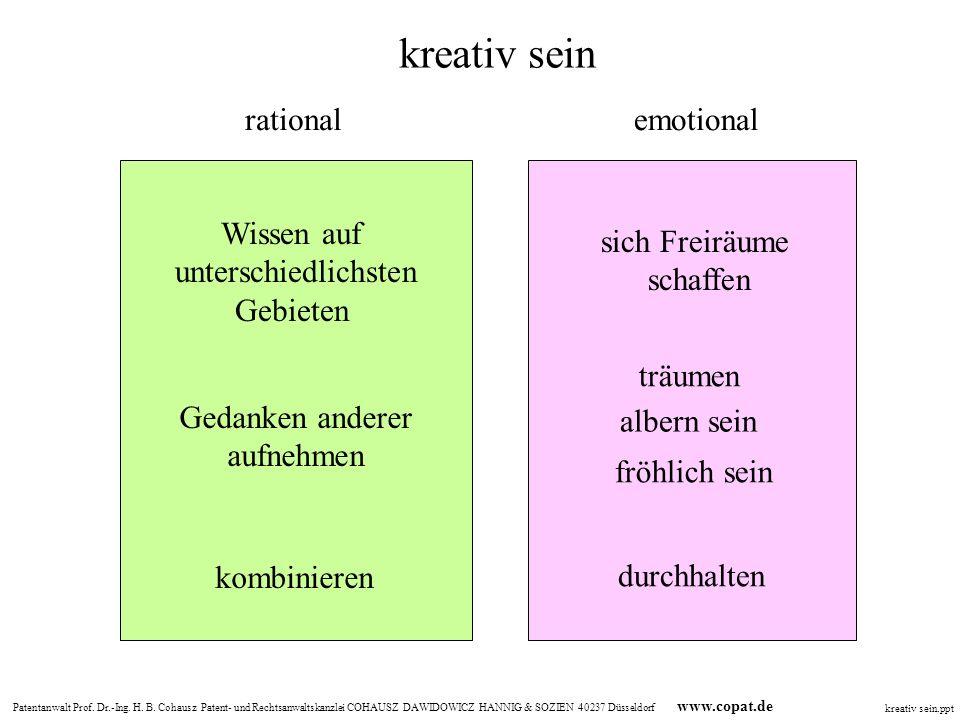 kreativ sein rational emotional Wissen auf unterschiedlichsten