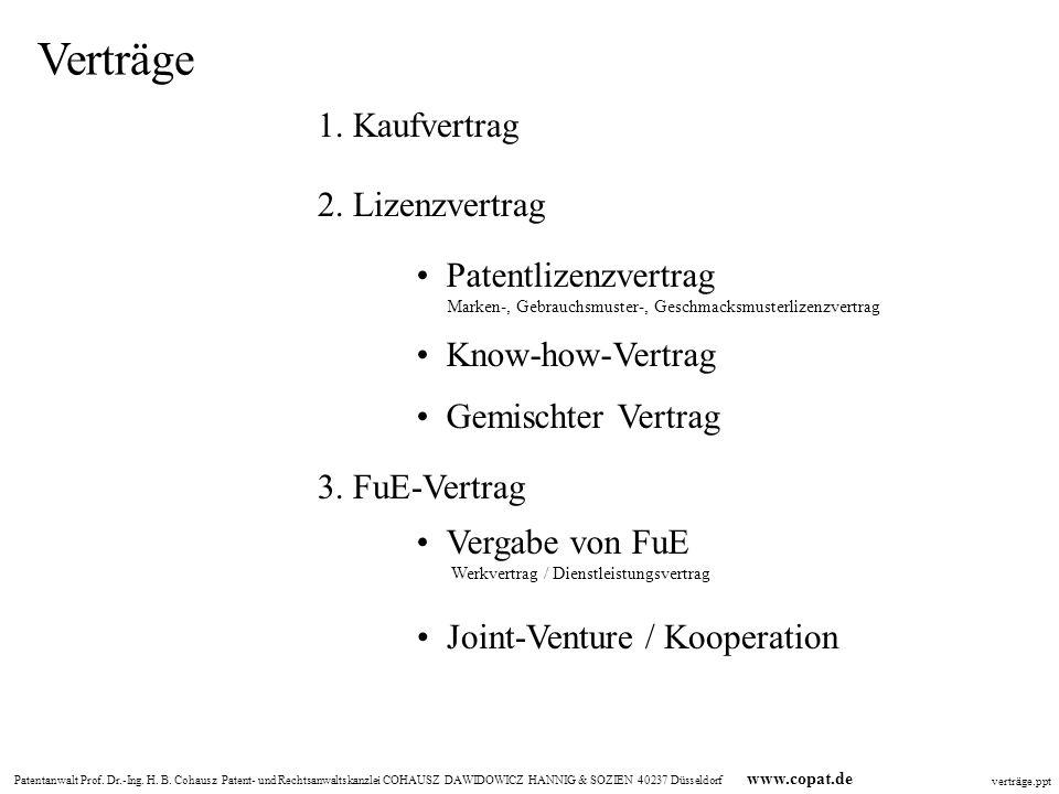 Verträge 1. Kaufvertrag 2. Lizenzvertrag • Patentlizenzvertrag