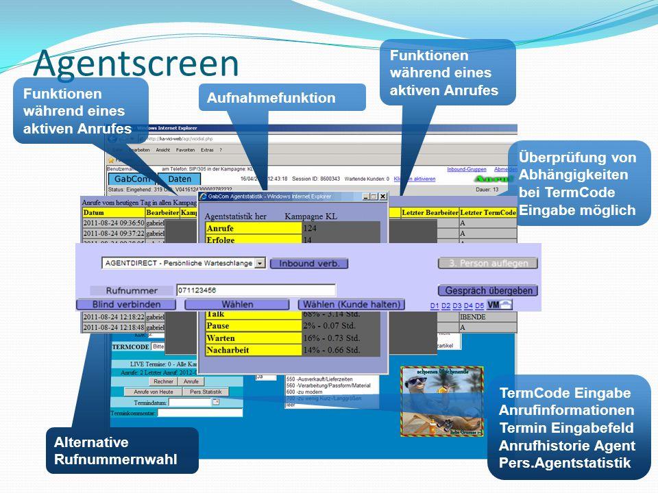 Agentscreen Funktionen während eines aktiven Anrufes