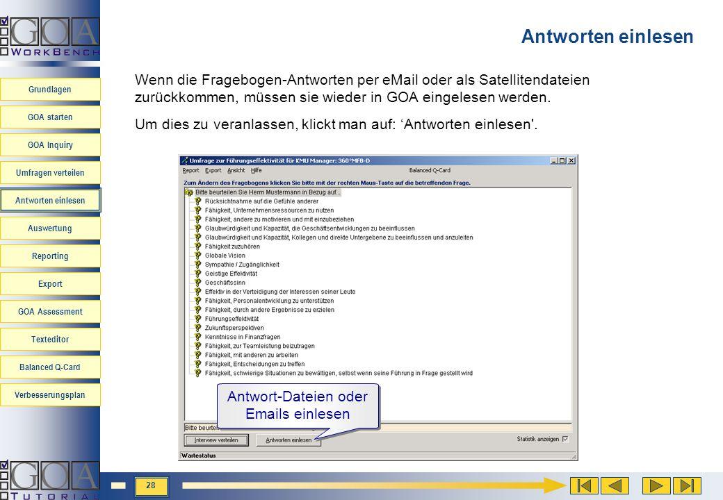 Antwort-Dateien oder Emails einlesen