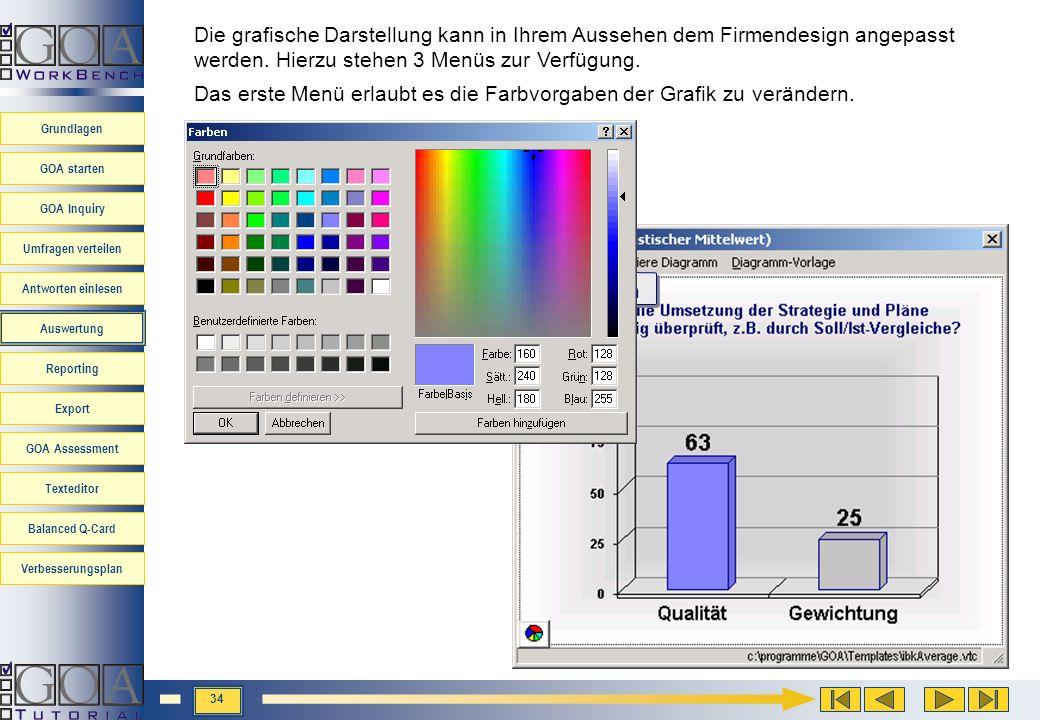 Die grafische Darstellung kann in Ihrem Aussehen dem Firmendesign angepasst werden. Hierzu stehen 3 Menüs zur Verfügung.