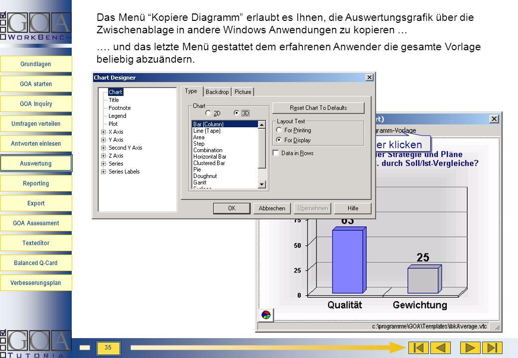 Das Menü Kopiere Diagramm erlaubt es Ihnen, die Auswertungsgrafik über die Zwischenablage in andere Windows Anwendungen zu kopieren …