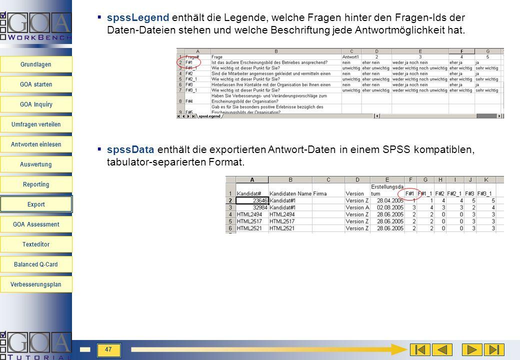 spssLegend enthält die Legende, welche Fragen hinter den Fragen-Ids der Daten-Dateien stehen und welche Beschriftung jede Antwortmöglichkeit hat.