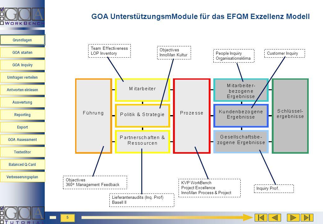GOA UnterstützungsmModule für das EFQM Exzellenz Modell