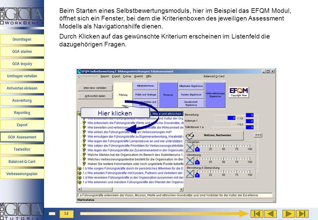 Beim Starten eines Selbstbewertungsmoduls, hier im Beispiel das EFQM Modul, öffnet sich ein Fenster, bei dem die Kriterienboxen des jeweiligen Assessment Modells als Navigationshilfe dienen.