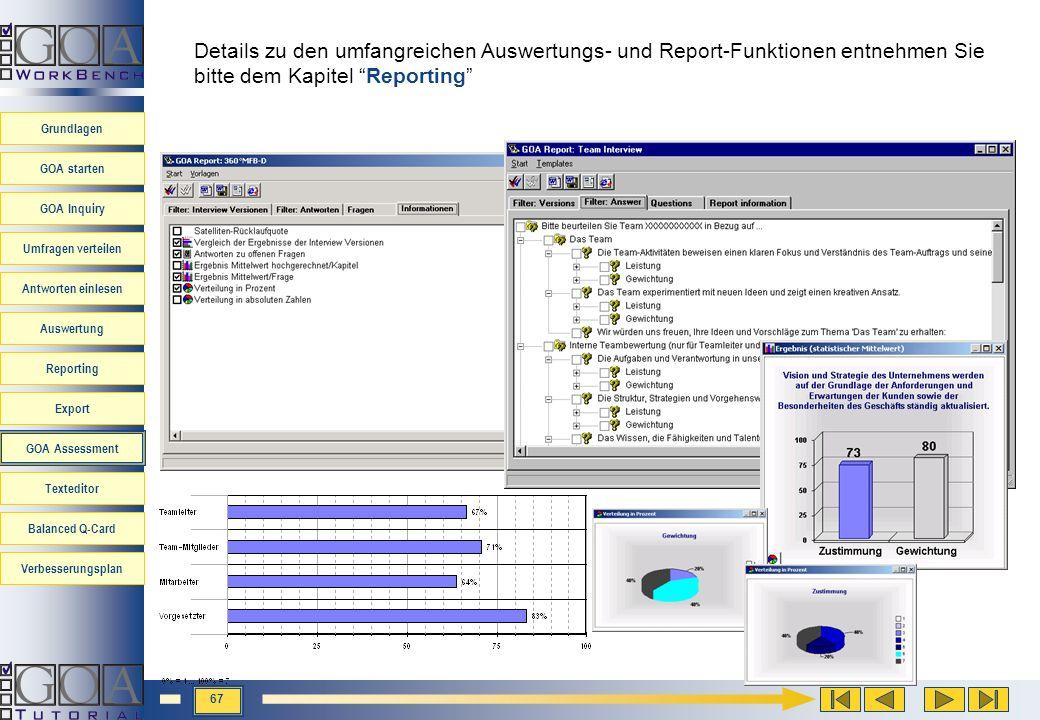 Details zu den umfangreichen Auswertungs- und Report-Funktionen entnehmen Sie bitte dem Kapitel Reporting