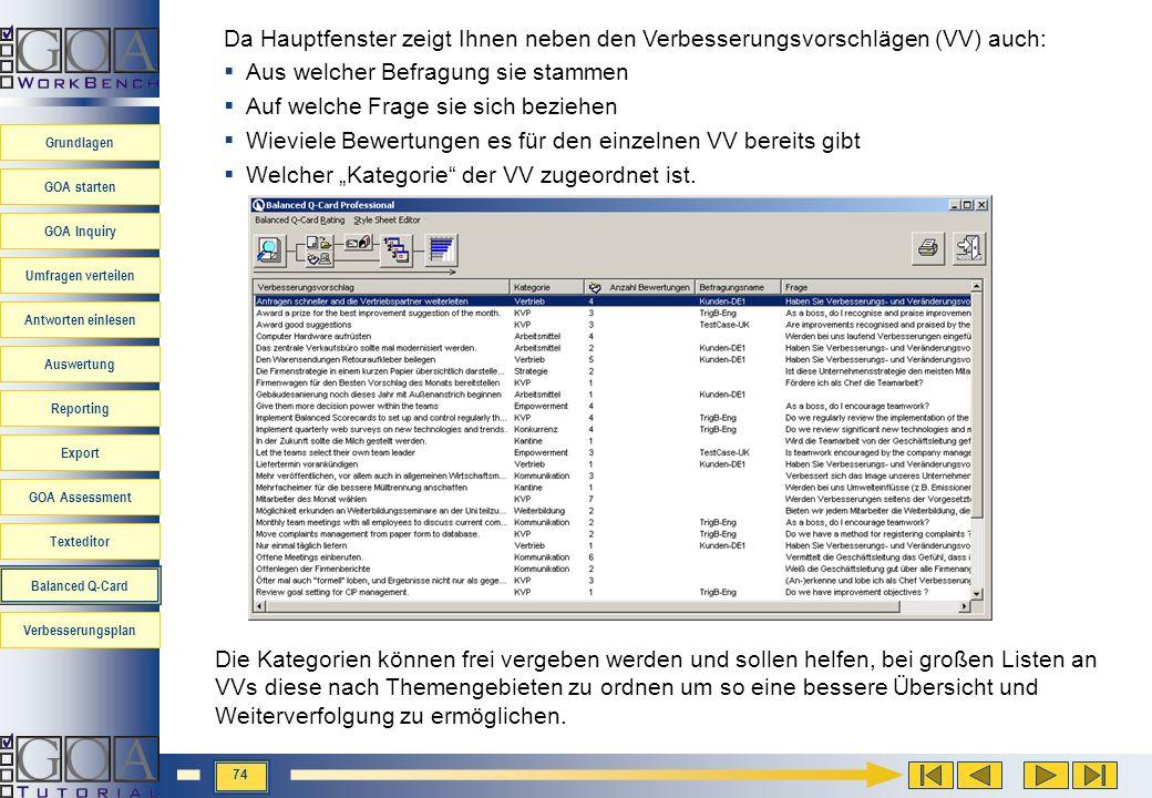 Da Hauptfenster zeigt Ihnen neben den Verbesserungsvorschlägen (VV) auch: