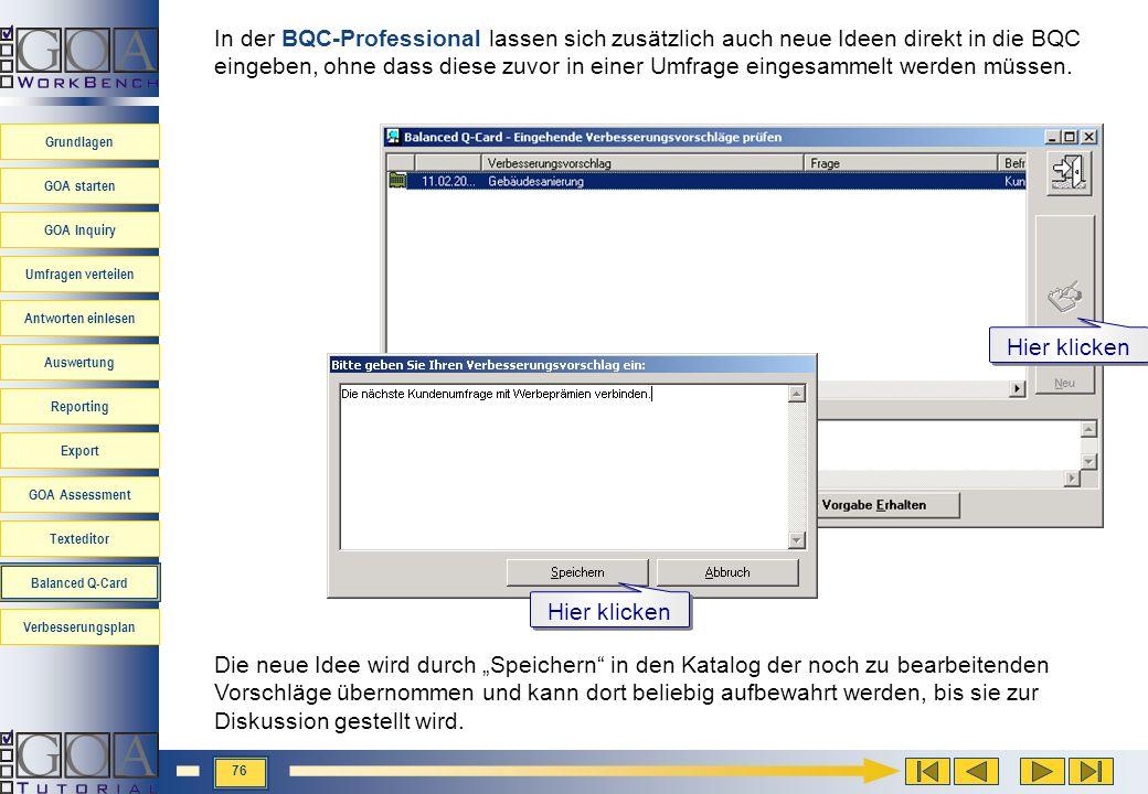 In der BQC-Professional lassen sich zusätzlich auch neue Ideen direkt in die BQC eingeben, ohne dass diese zuvor in einer Umfrage eingesammelt werden müssen.