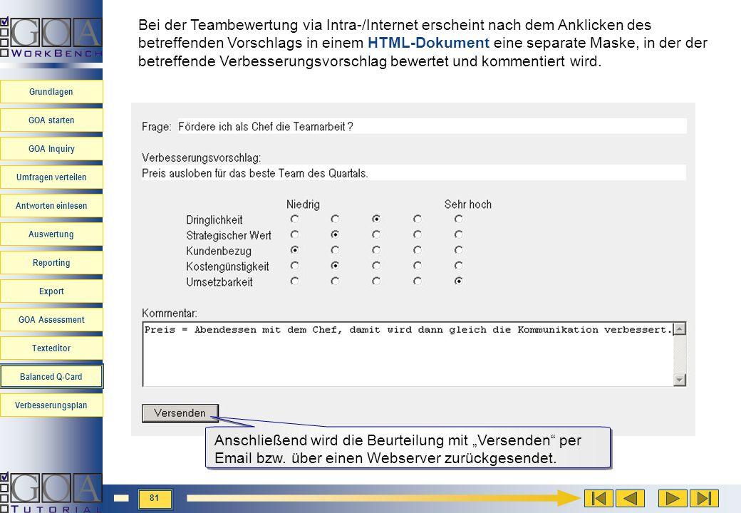 Bei der Teambewertung via Intra-/Internet erscheint nach dem Anklicken des betreffenden Vorschlags in einem HTML-Dokument eine separate Maske, in der der betreffende Verbesserungsvorschlag bewertet und kommentiert wird.