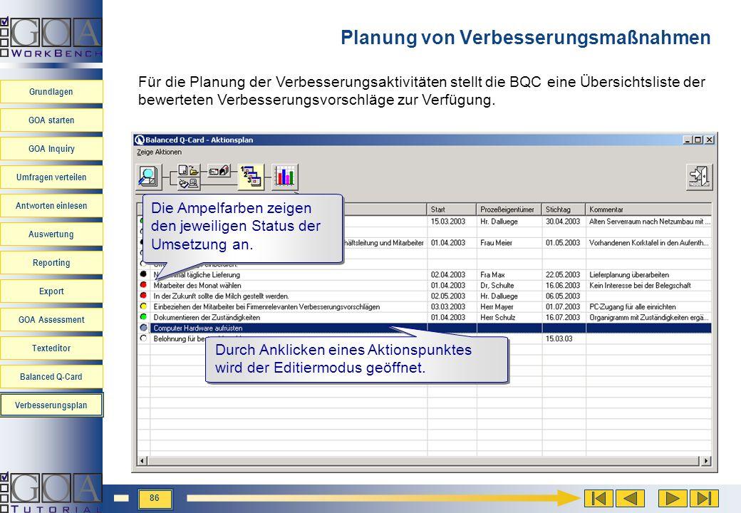 Planung von Verbesserungsmaßnahmen