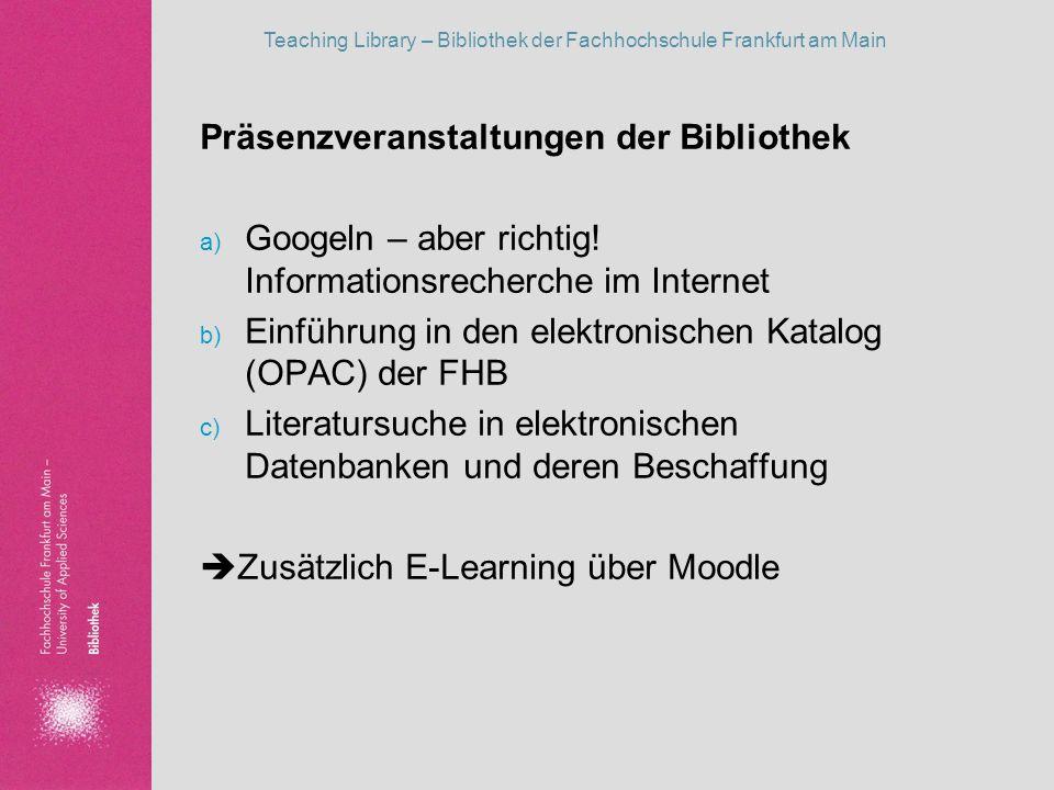 Präsenzveranstaltungen der Bibliothek
