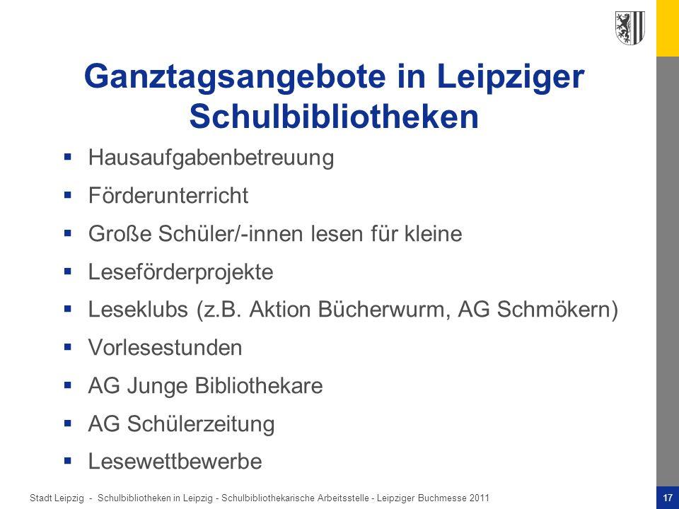 Ganztagsangebote in Leipziger Schulbibliotheken