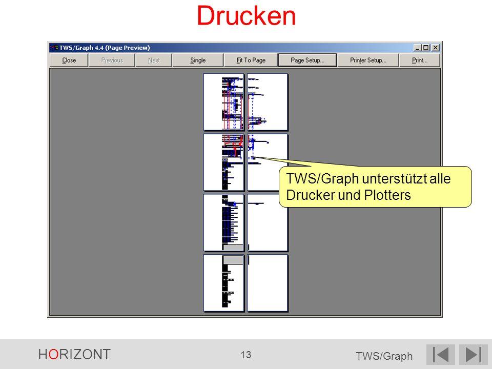 Drucken TWS/Graph unterstützt alle Drucker und Plotters