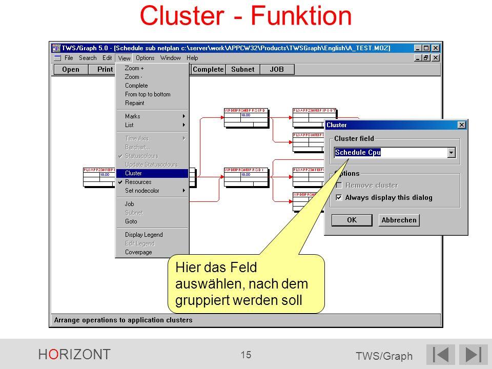 Cluster - Funktion Hier das Feld auswählen, nach dem gruppiert werden soll 3 8 3 3 8 12 4 4 11 12