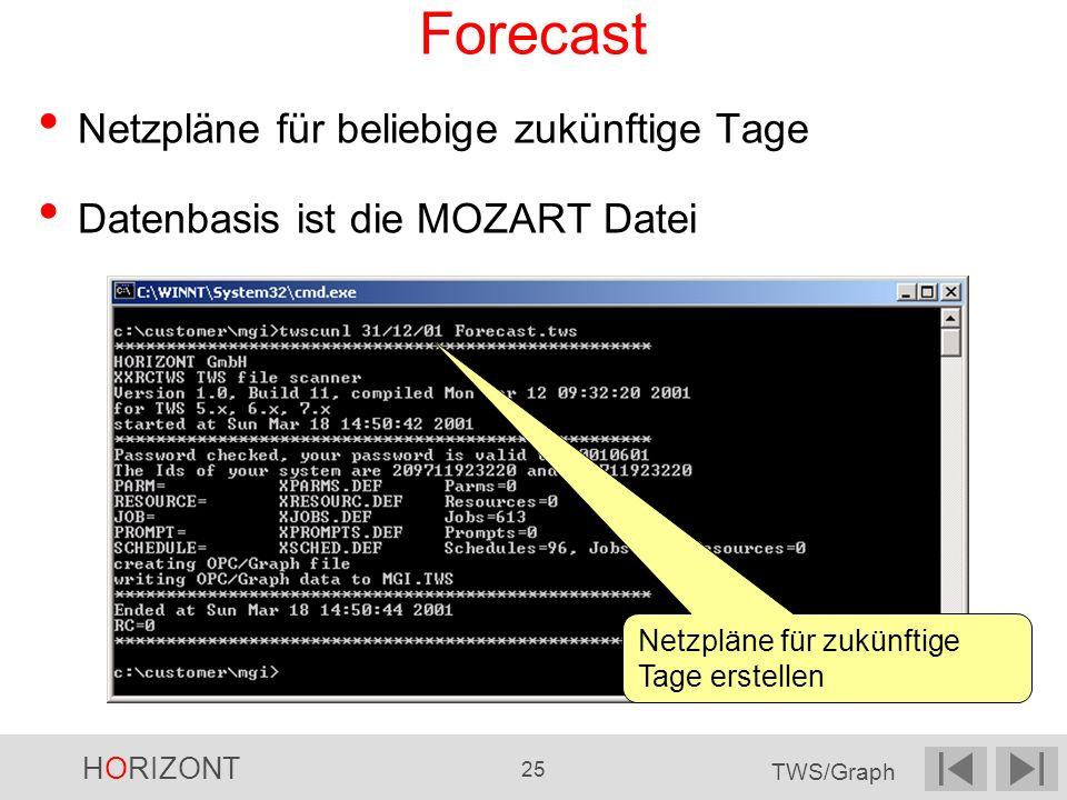 Forecast Netzpläne für beliebige zukünftige Tage