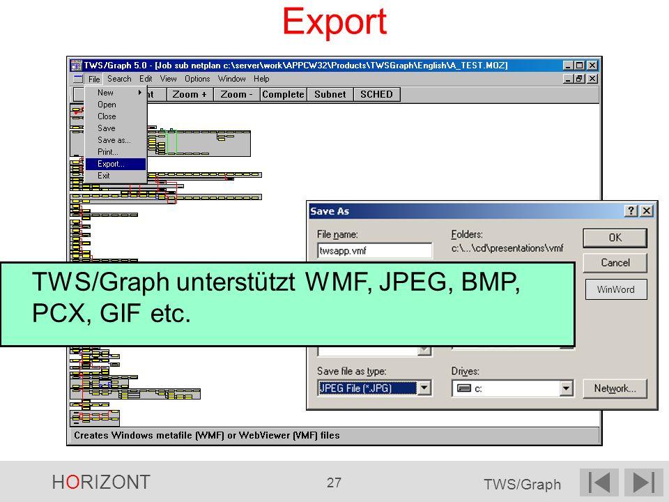 Export TWS/Graph unterstützt WMF, JPEG, BMP, PCX, GIF etc. WinWord 24