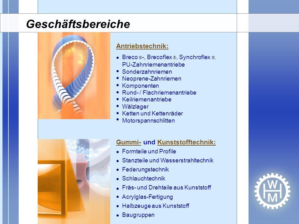 Geschäftsbereiche Antriebstechnik: Gummi- und Kunststofftechnik: