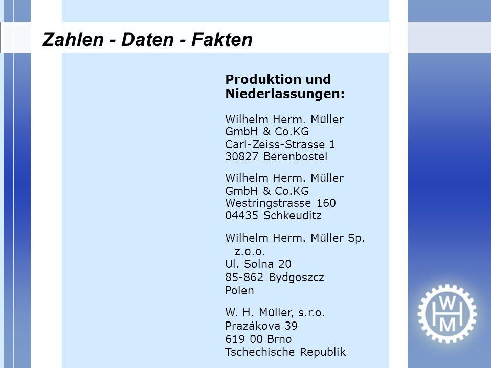 Zahlen - Daten - Fakten Produktion und Niederlassungen: