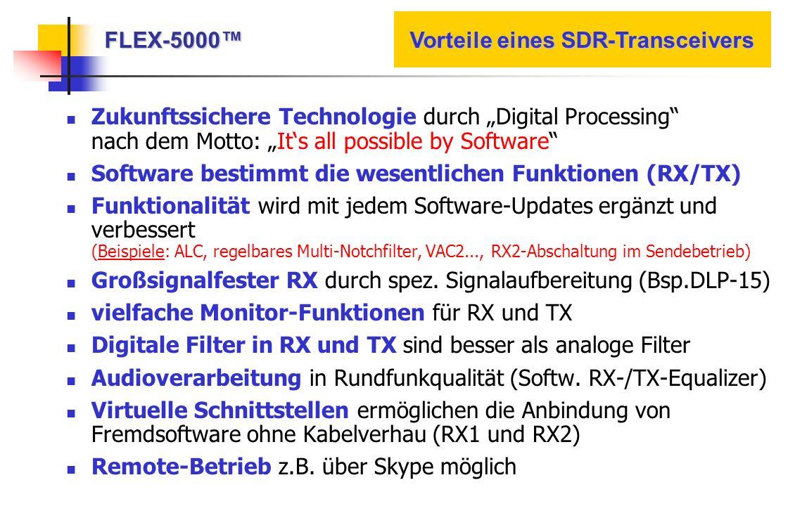 FLEX-5000™ Vorteile eines SDR-Transceivers