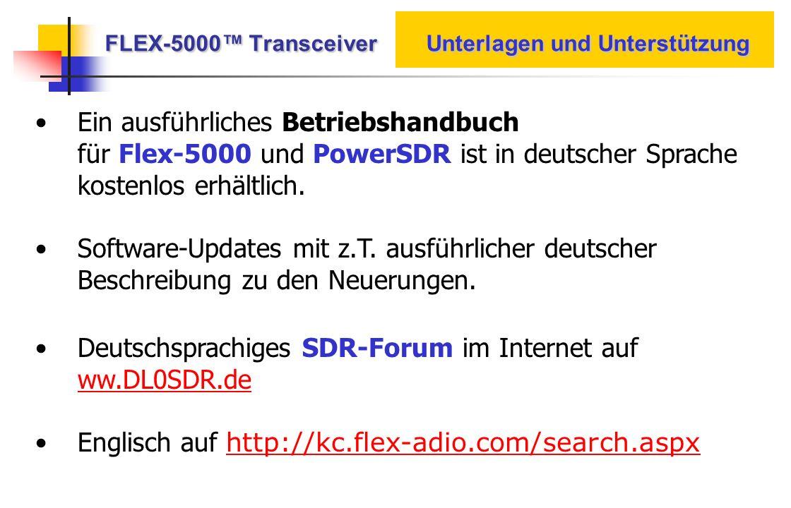 FLEX-5000™ Transceiver Unterlagen und Unterstützung