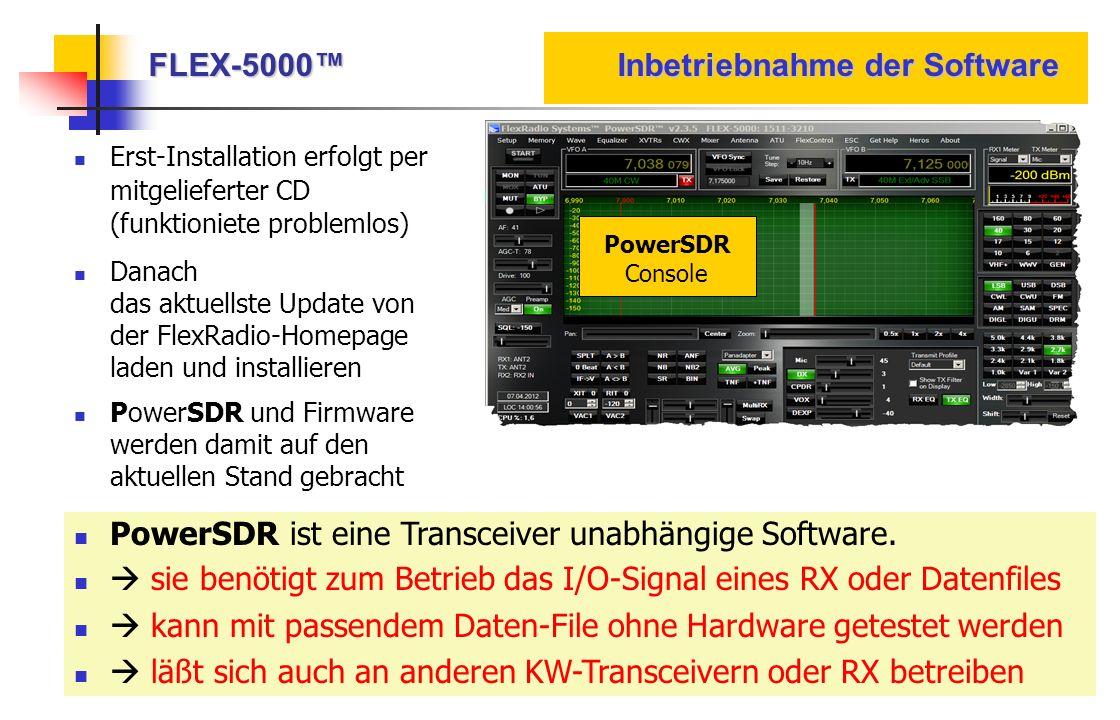 FLEX-5000™ Inbetriebnahme der Software