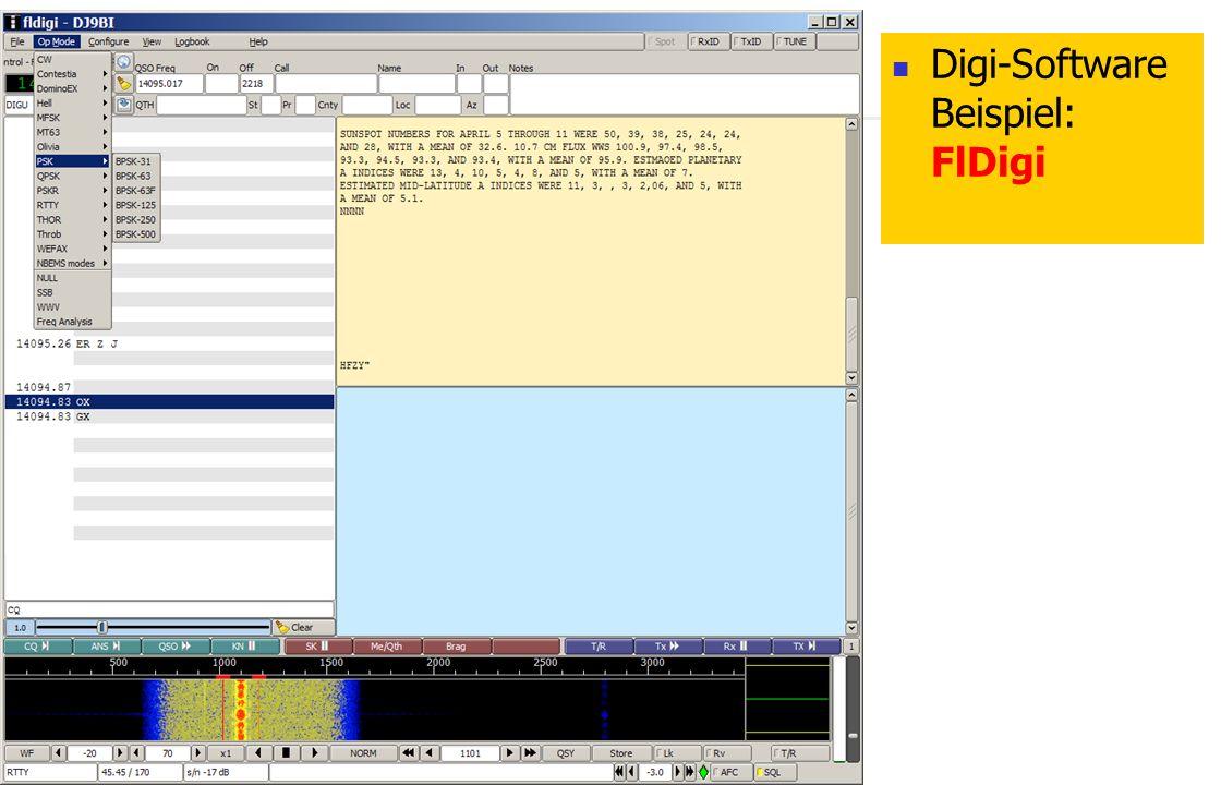 Digi-Software Beispiel: FlDigi