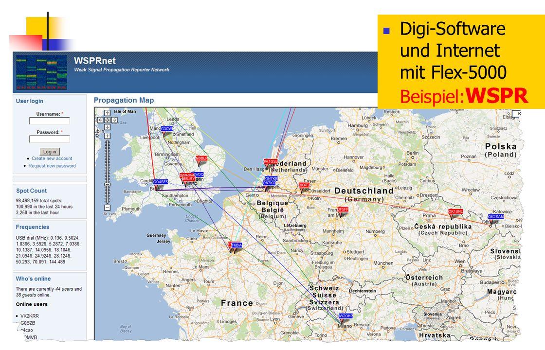 Digi-Software und Internet mit Flex-5000 Beispiel:WSPR