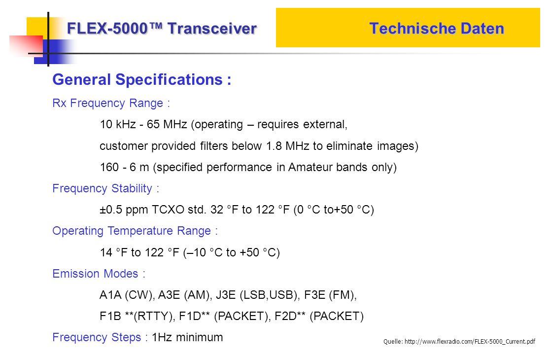 FLEX-5000™ Transceiver Technische Daten