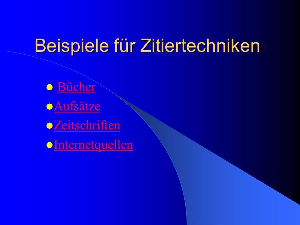 Beispiele für Zitiertechniken