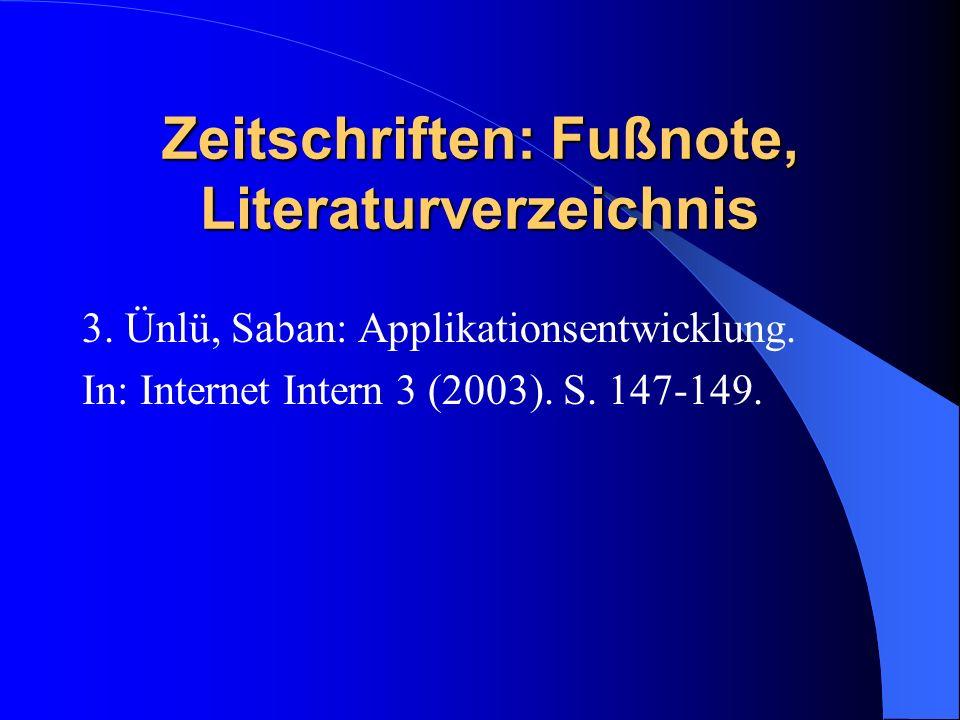 Zeitschriften: Fußnote, Literaturverzeichnis