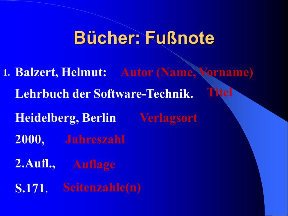 Bücher: Fußnote Balzert, Helmut: Autor (Name, Vorname)