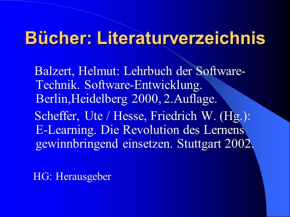 Bücher: Literaturverzeichnis