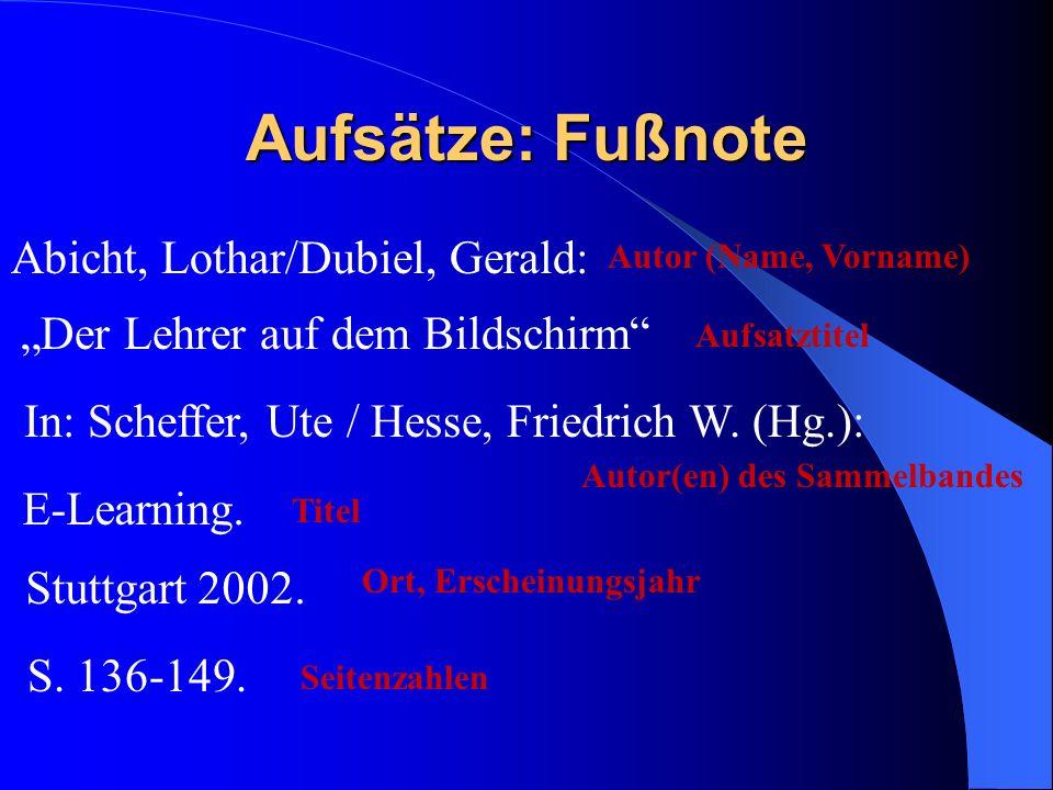 Aufsätze: Fußnote Abicht, Lothar/Dubiel, Gerald: