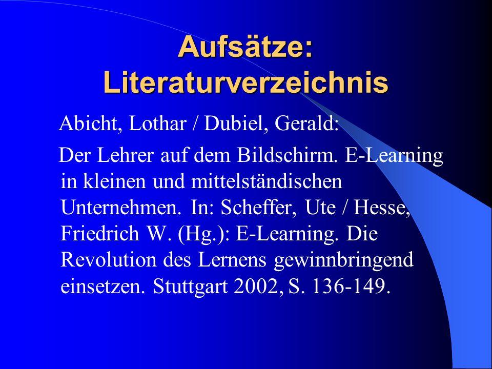 Aufsätze: Literaturverzeichnis