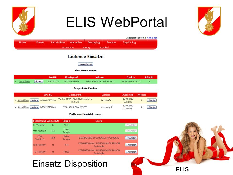 ELIS WebPortal Einsatz Disposition