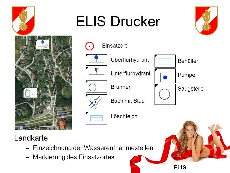 ELIS Drucker Landkarte Einzeichnung der Wasserentnahmestellen
