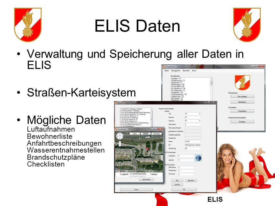 ELIS Daten Verwaltung und Speicherung aller Daten in ELIS
