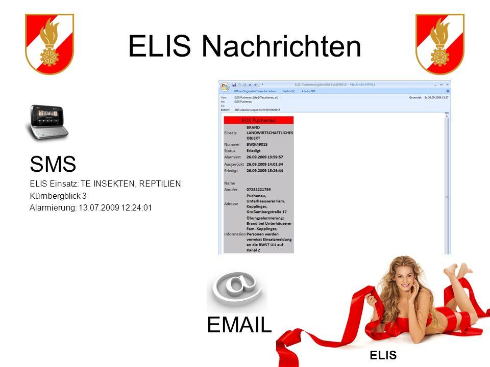 ELIS Nachrichten SMS EMAIL ELIS Einsatz: TE INSEKTEN, REPTILIEN
