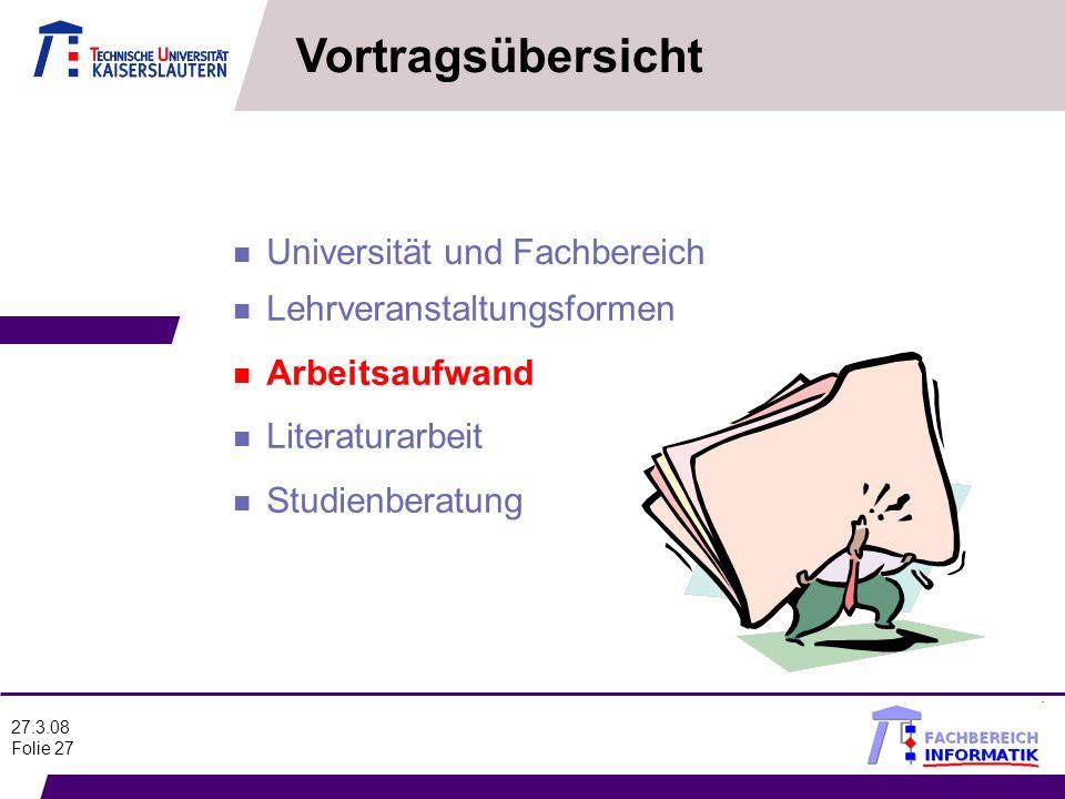 Vortragsübersicht Universität und Fachbereich Lehrveranstaltungsformen