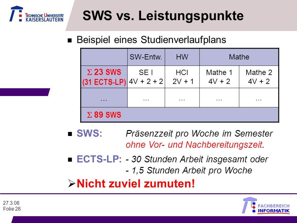 SWS vs. Leistungspunkte