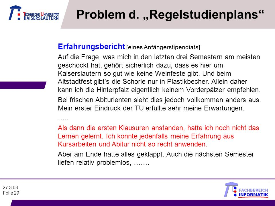 "Problem d. ""Regelstudienplans"