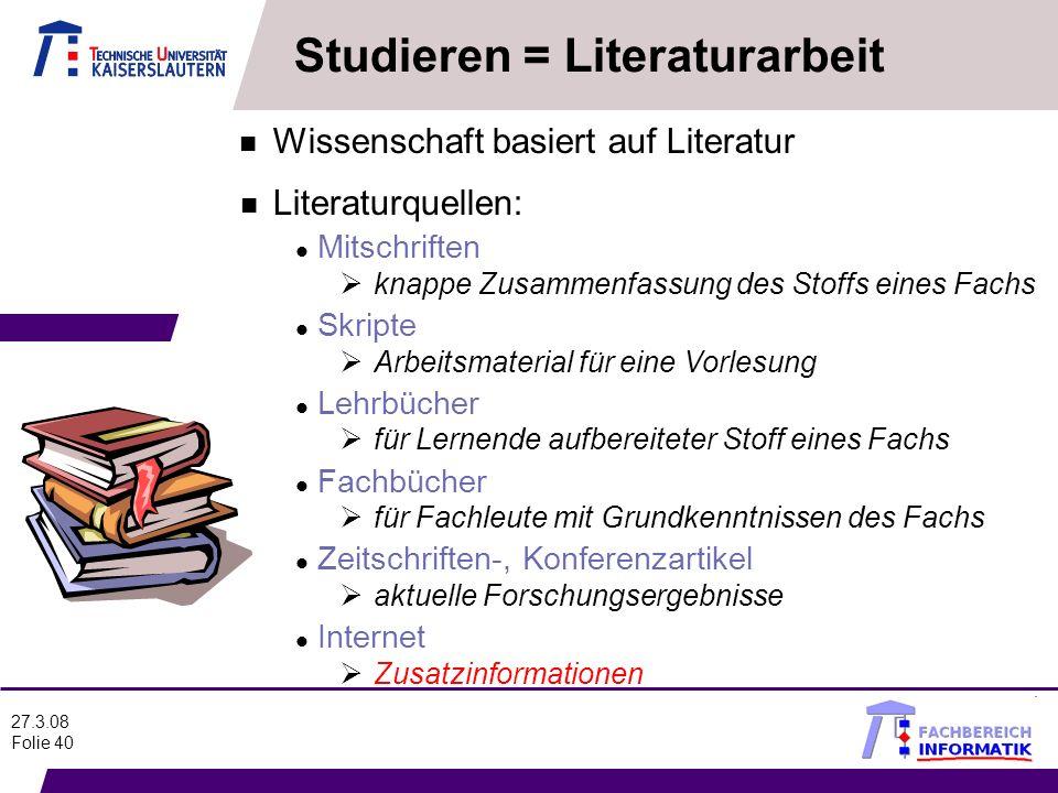 Studieren = Literaturarbeit